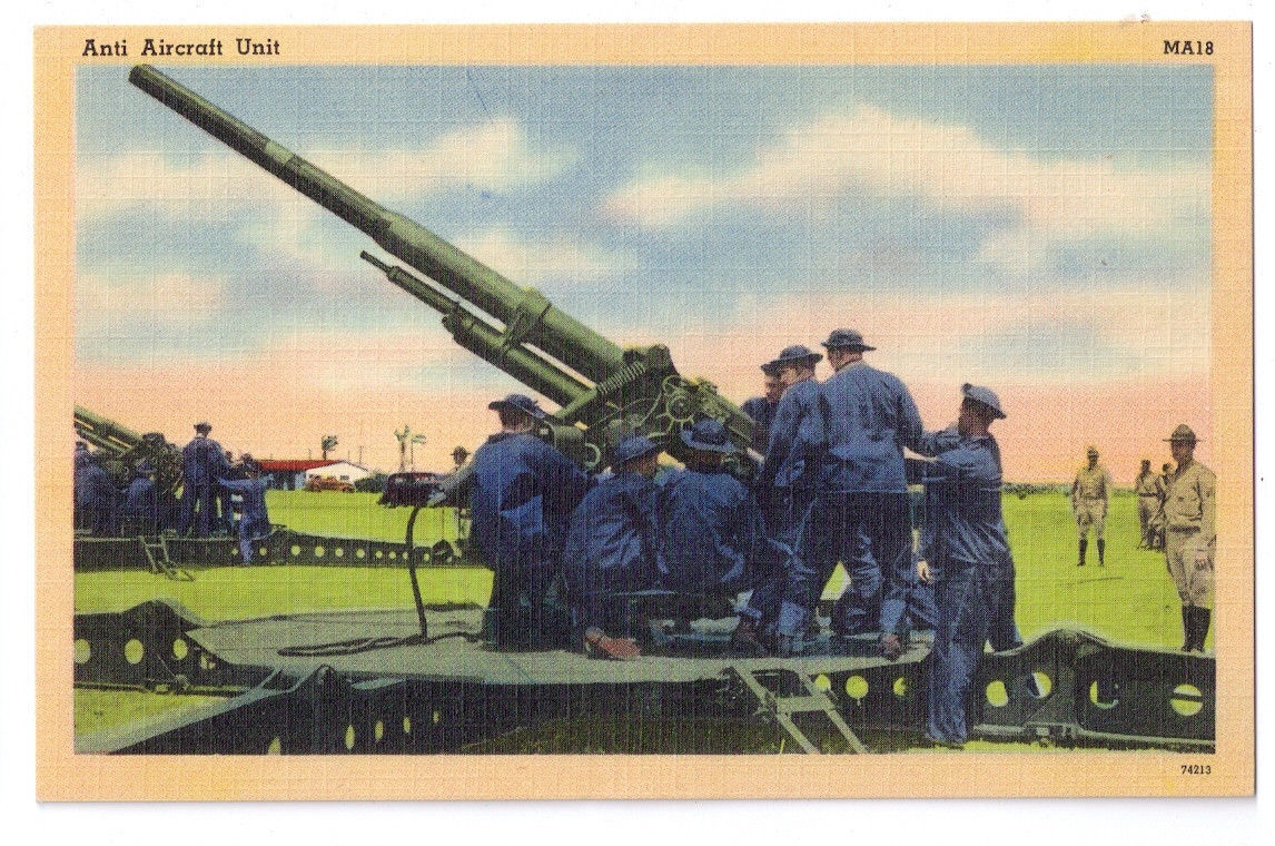 Military Army Anit Aircraft Unit Vtg Tichnor Linen Postcard