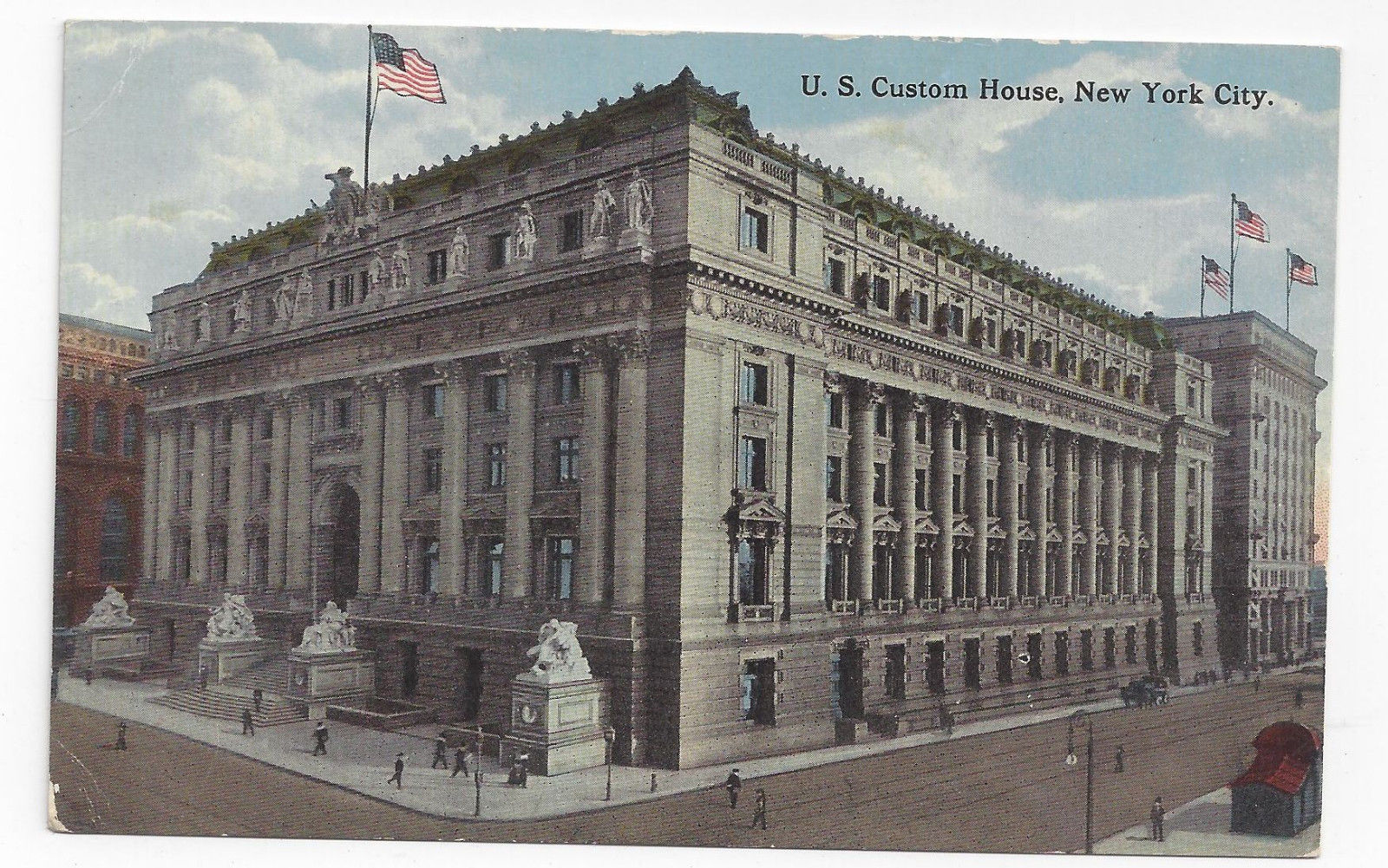 NY US Custom House New York City Vtg ca 1920 Postcard