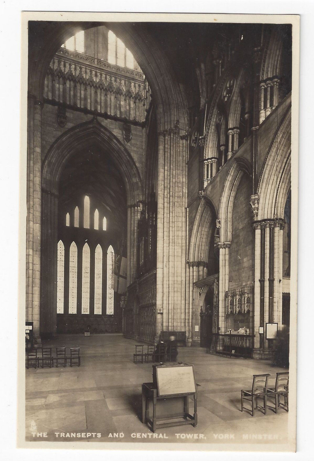 UK York Minster Cathedral Transepts Central Tower RPPC Raphael Tuck Postcard
