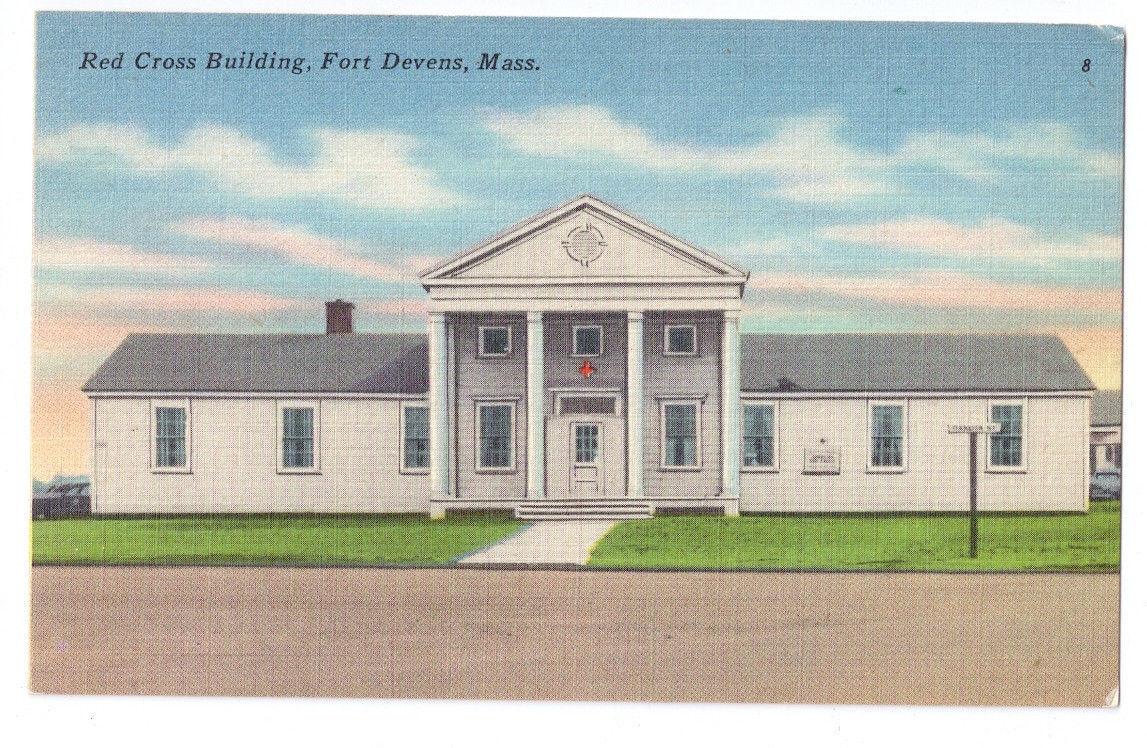 Military Fort  Devens Red Cross Building Massachusetts Vtg Linen Postcard MA