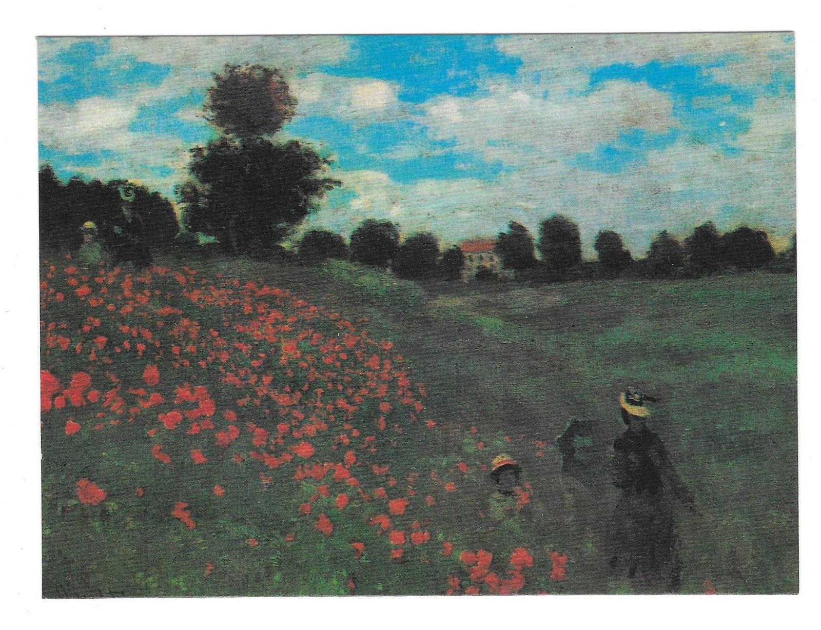 Monet Field of Poppies Impressionist Painting Vtg Art Postcard 4X6