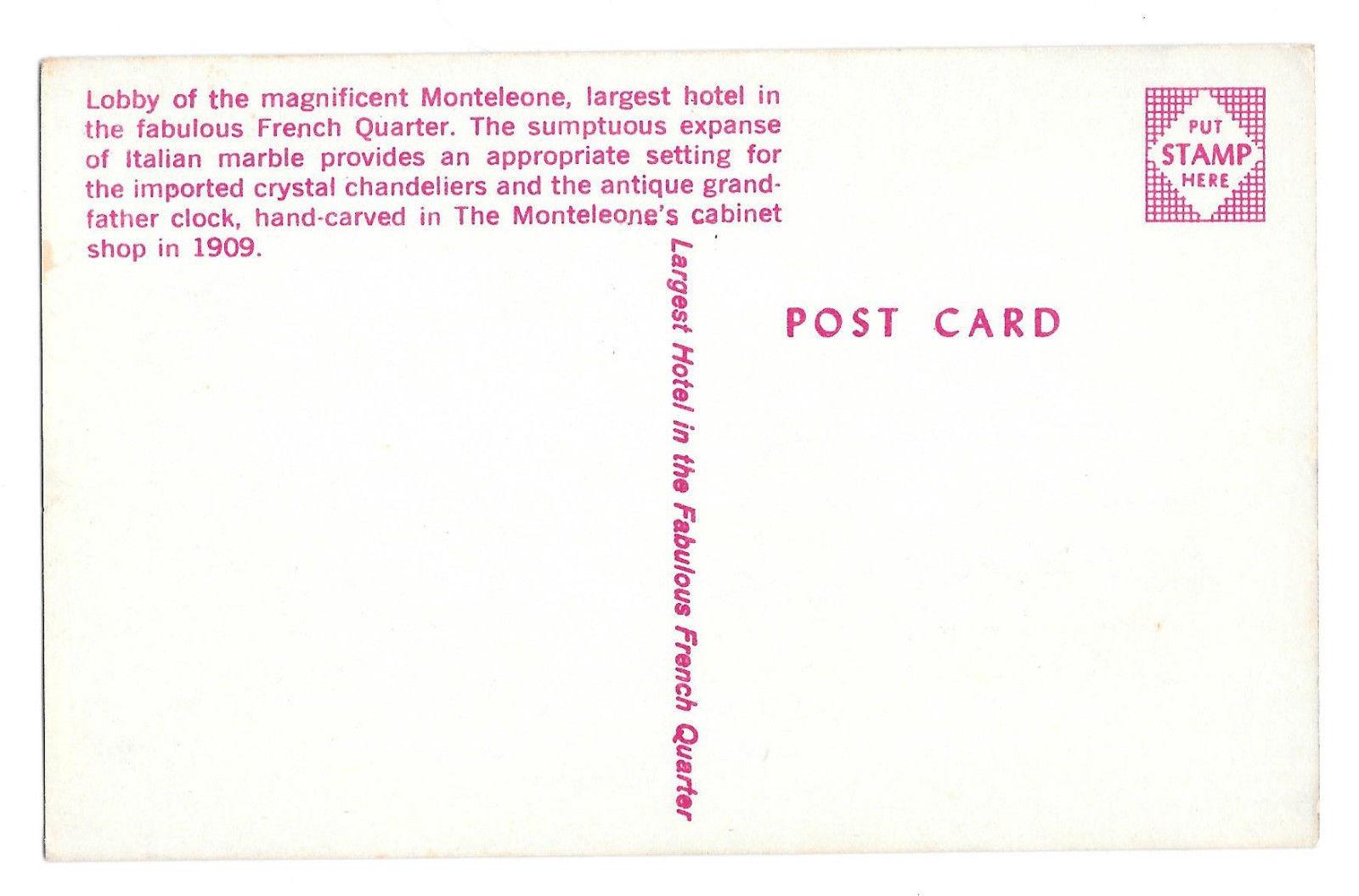 LA New Orleans Hotel Monteleone French Quarter Marble Lobby Vtg Postcard