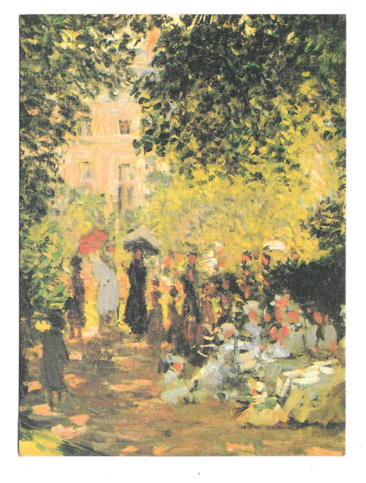 Monet Parisiennes Parc Monceau Impressionist Painting Vtg Art Postcard 4X6