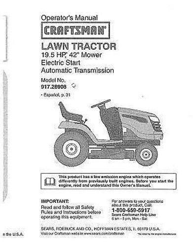 Craftsman  Lawn Tractor Operators Manual 917.28908