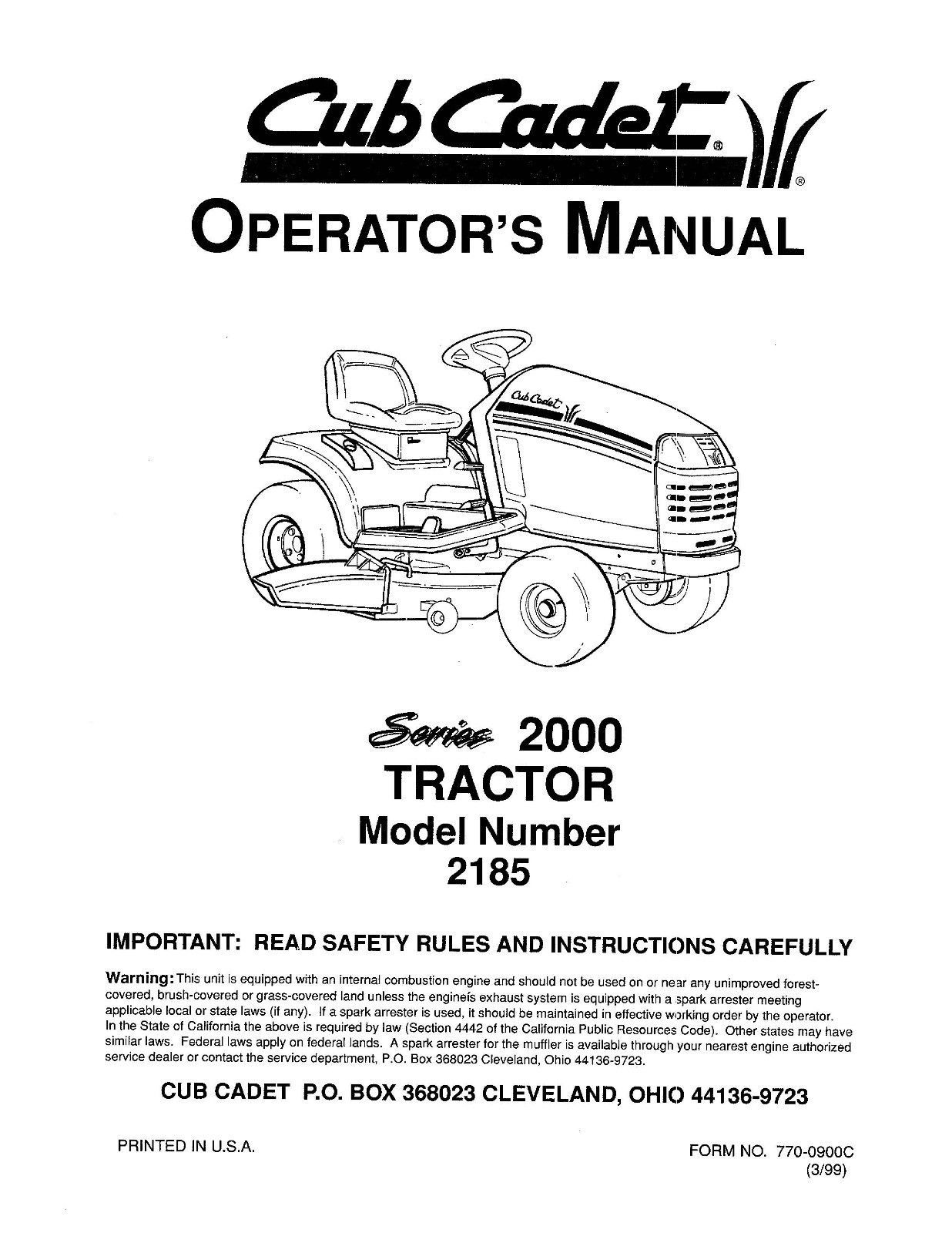 Cub Cadet Lawn Tractor Operator's Manual Model No. 2185