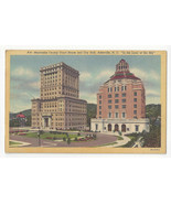 NC Asheville Buncombe County Court House City Hall Vtg 1939 Linen Postcard - $4.74