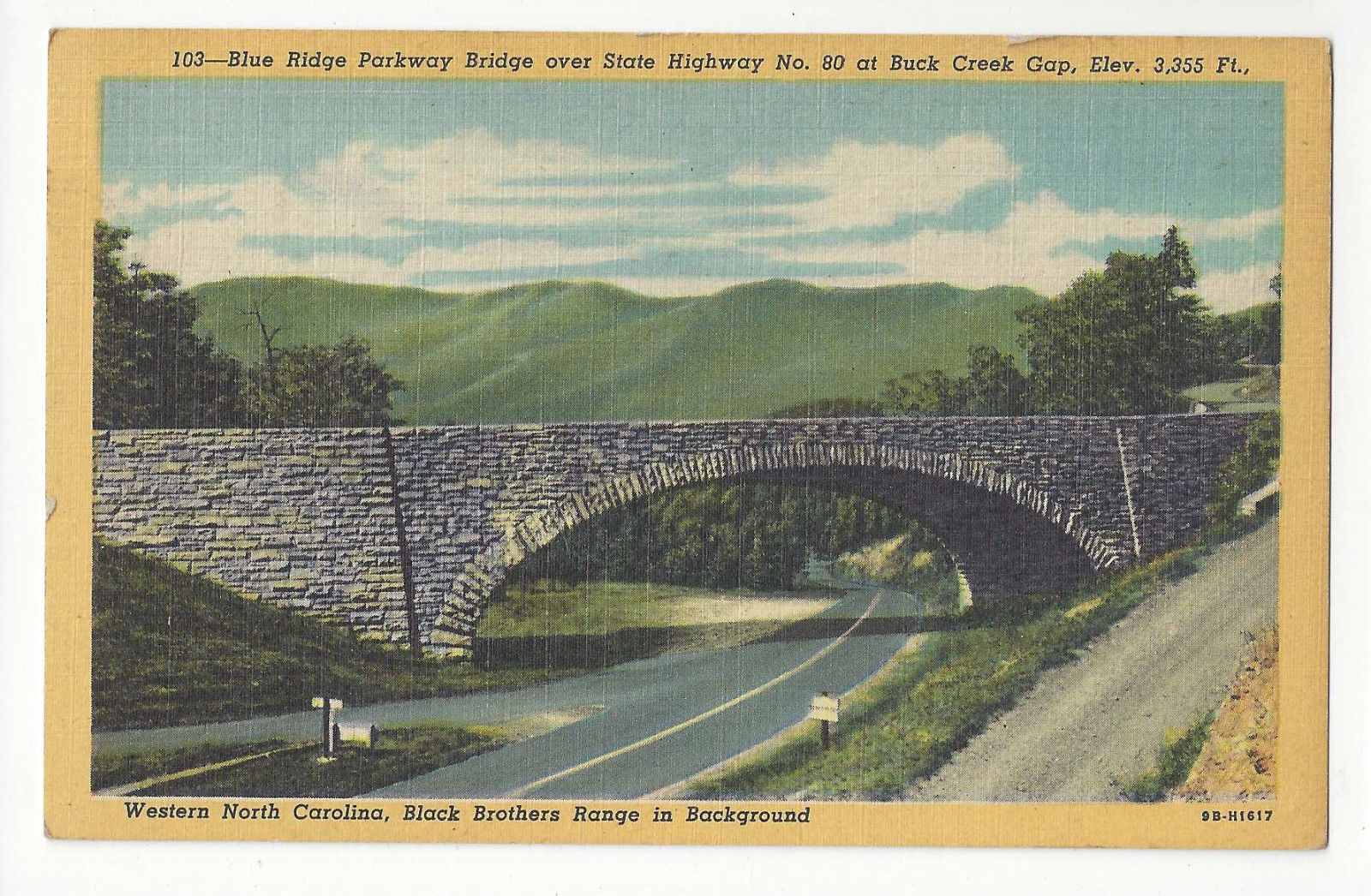 NC Blue Ridge Parkway Hwy 80 Black Brothers Range Buck Creek Gap Vtg Postcard