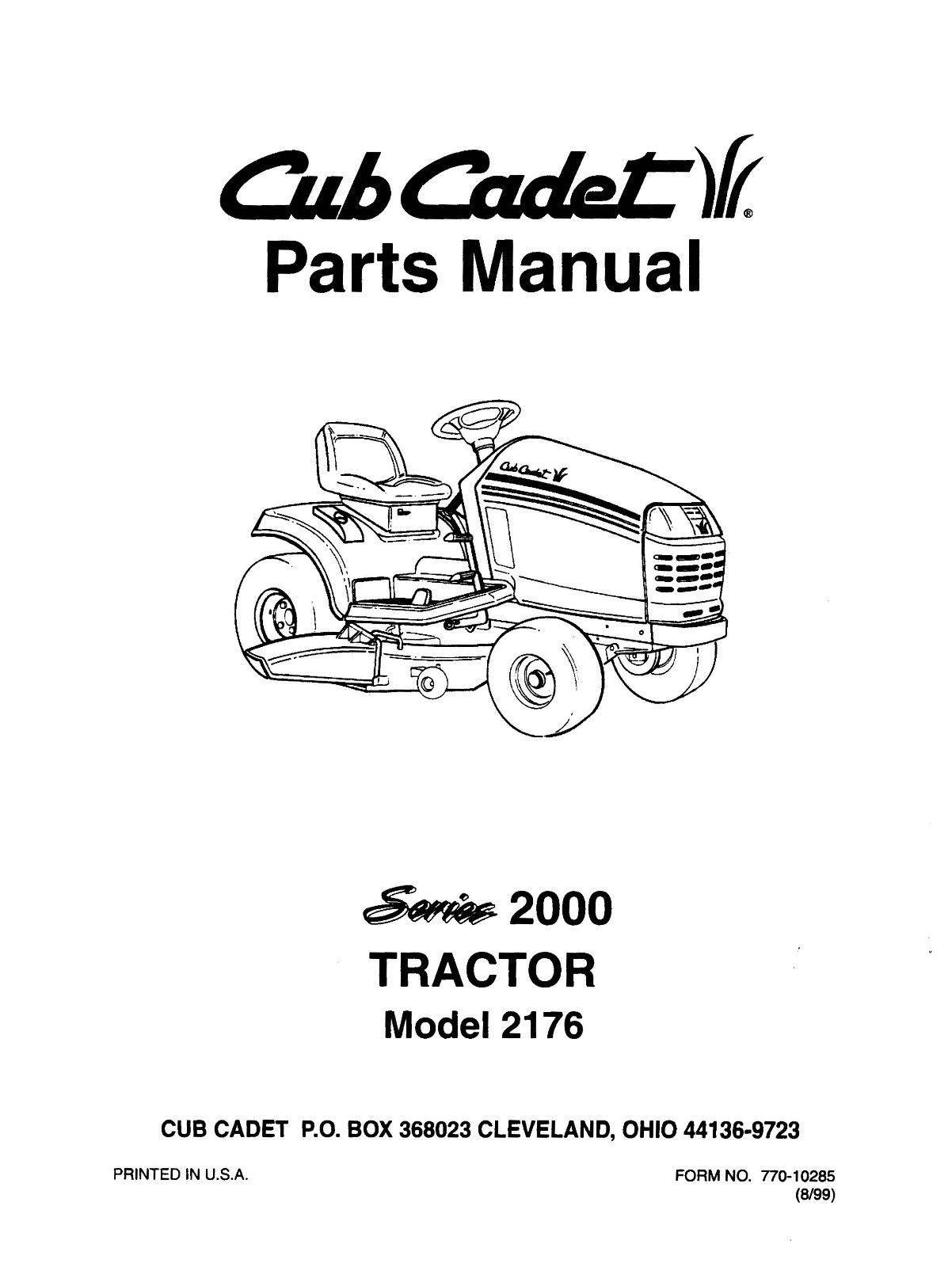 Cub Cadet 2000 Series Lawn Tractor Parts Manual Model No. 2176