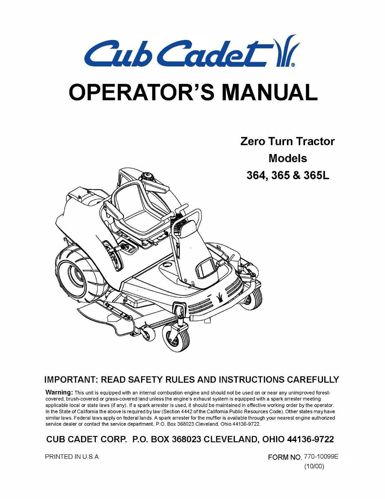 Cub Cadet Zero Turn Tractor Operator's Manual Model No. 364-365-365L