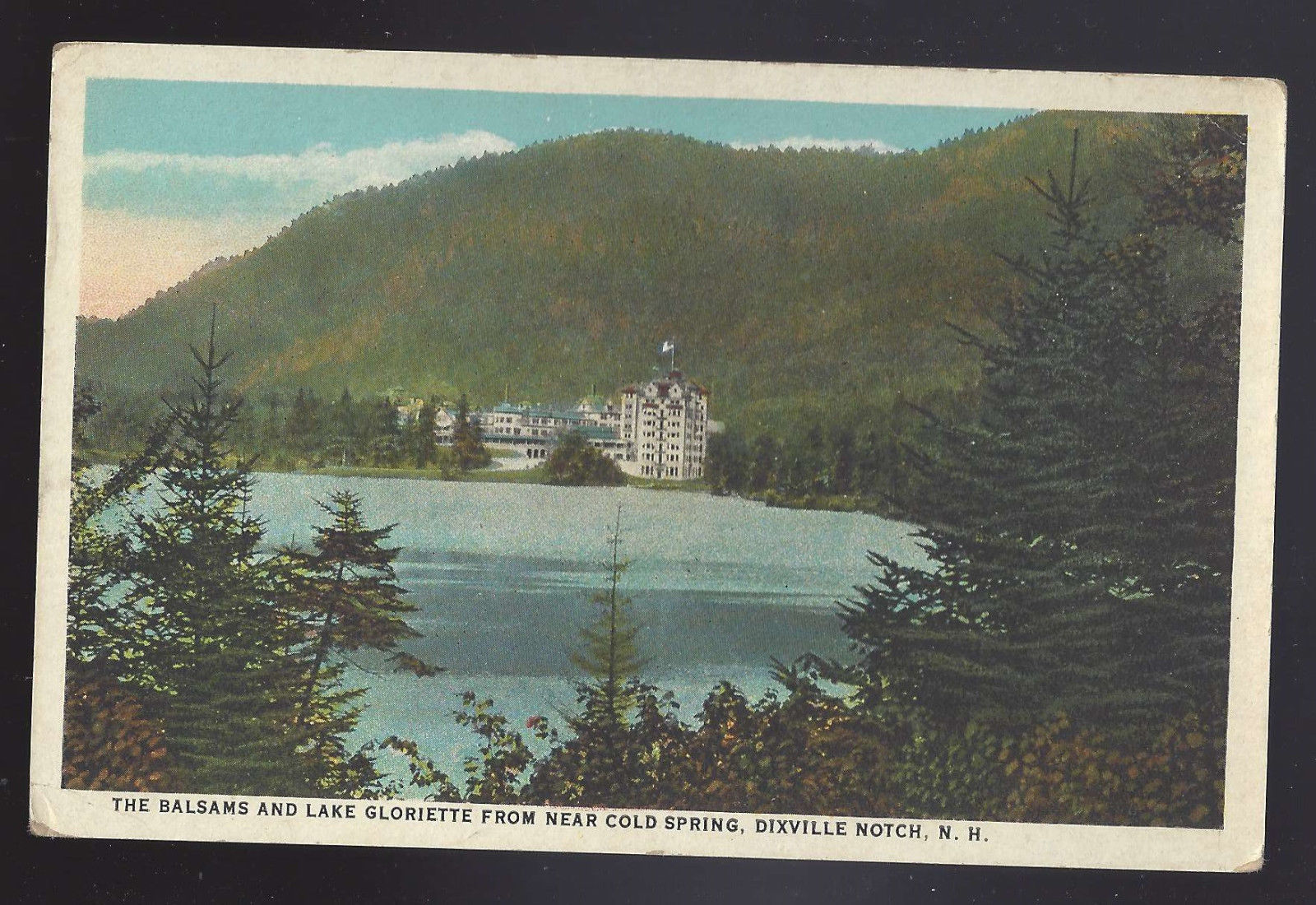 NH Dixville Notch Lake Gloriette and The Balsams from Cold Springs Vtg Postcard
