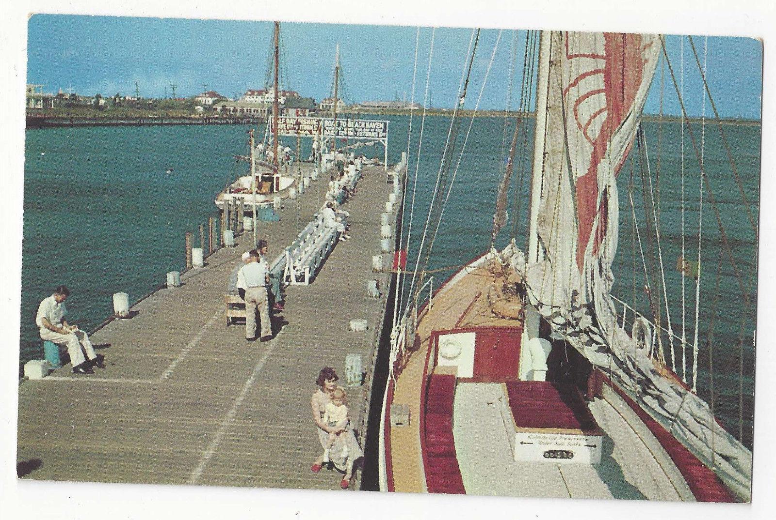 NJ Atlantic City Inlet Pier Sailboats Fishing Boats Vtg Postcard
