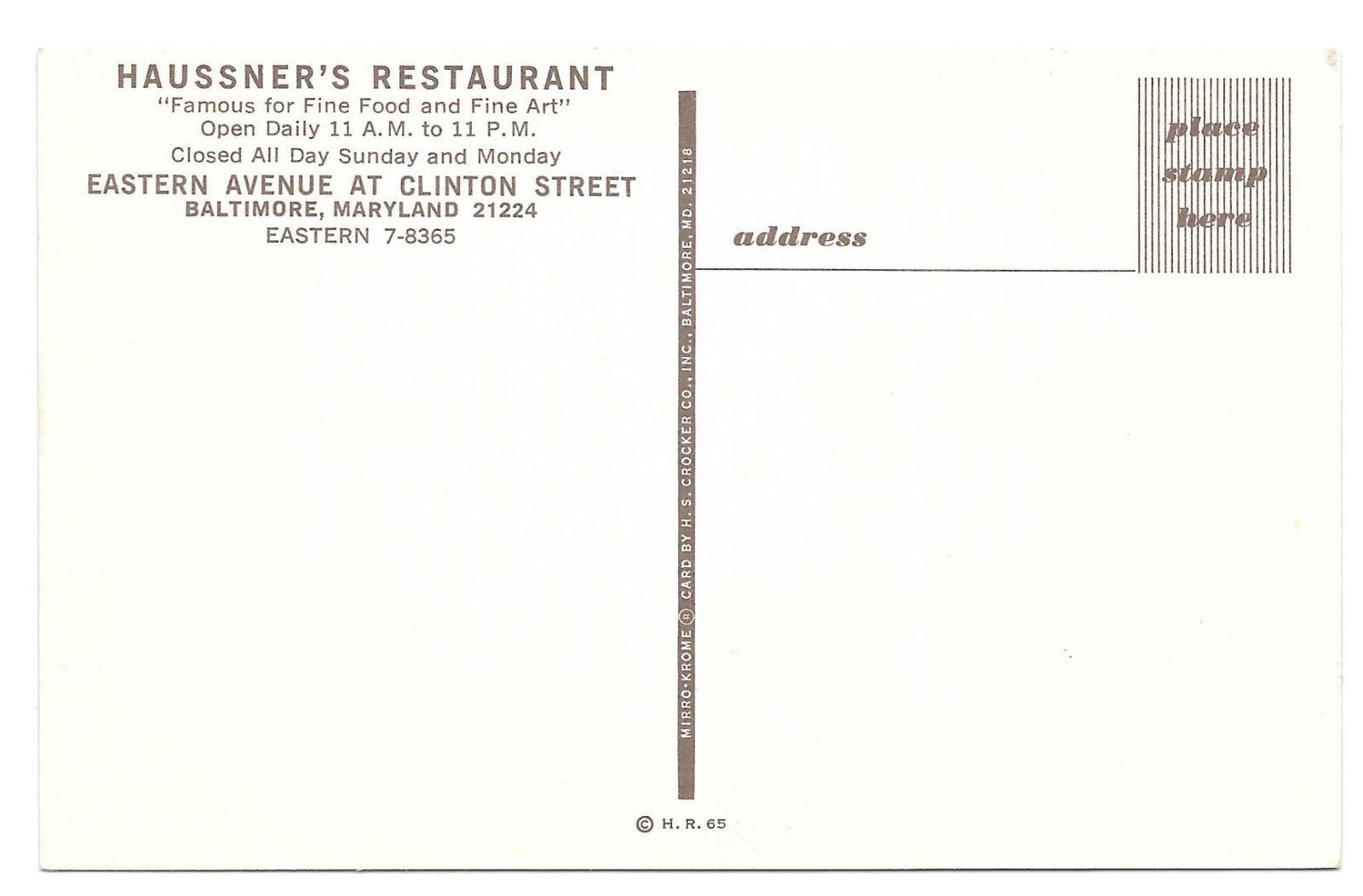 MD Baltimore Haussner's Restaurant Food and Art Eastern Avenue Vtg Postcard