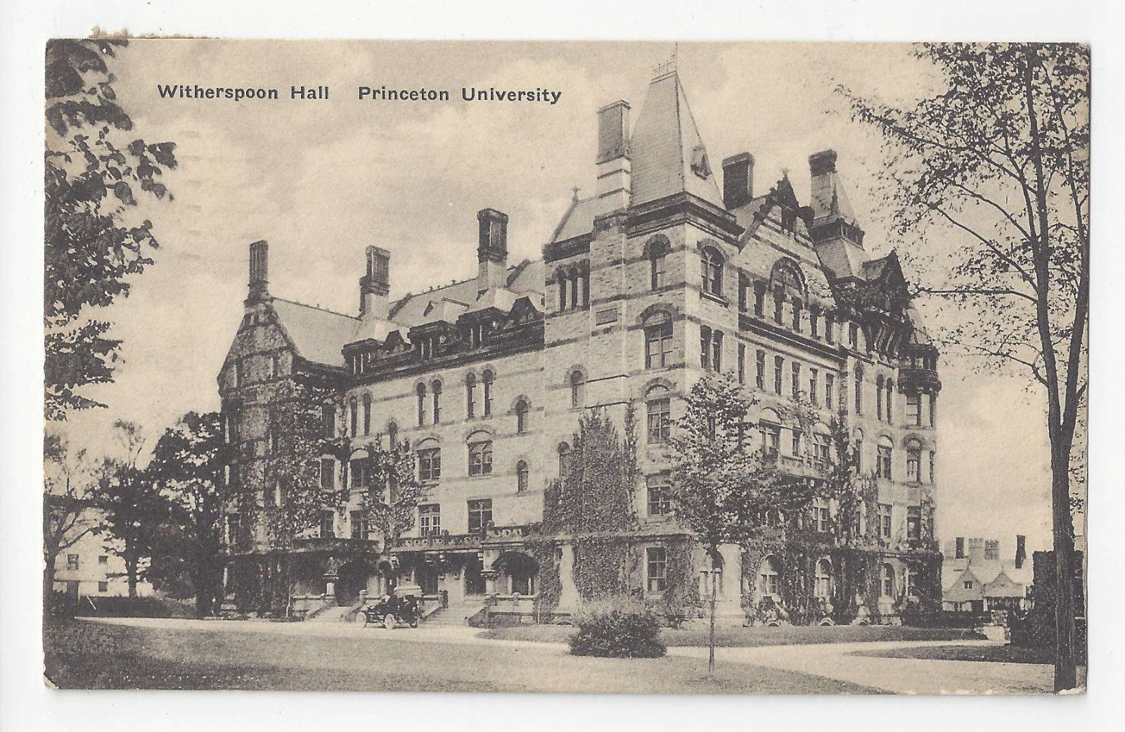 NJ Princeton University Witherspoon Hall Vtg Albertype Postcard 1942