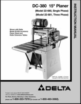 Delta Planer 22-680 / 22-681 DC-380 Instruction Manual - $10.88