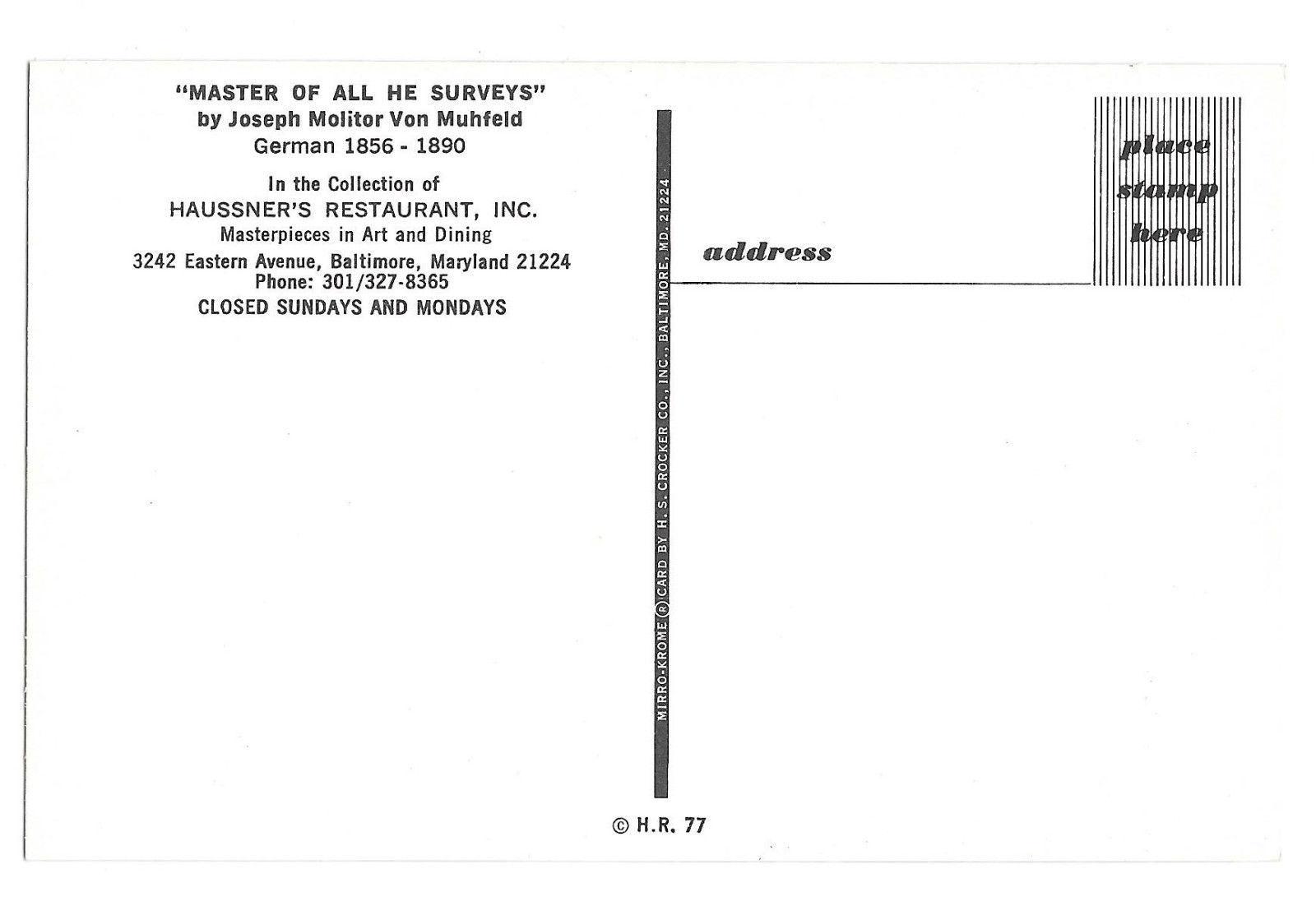 Master of All He Surveys Muhfeld Haussner's Restaurant Baltimore MD Vtg Postcard