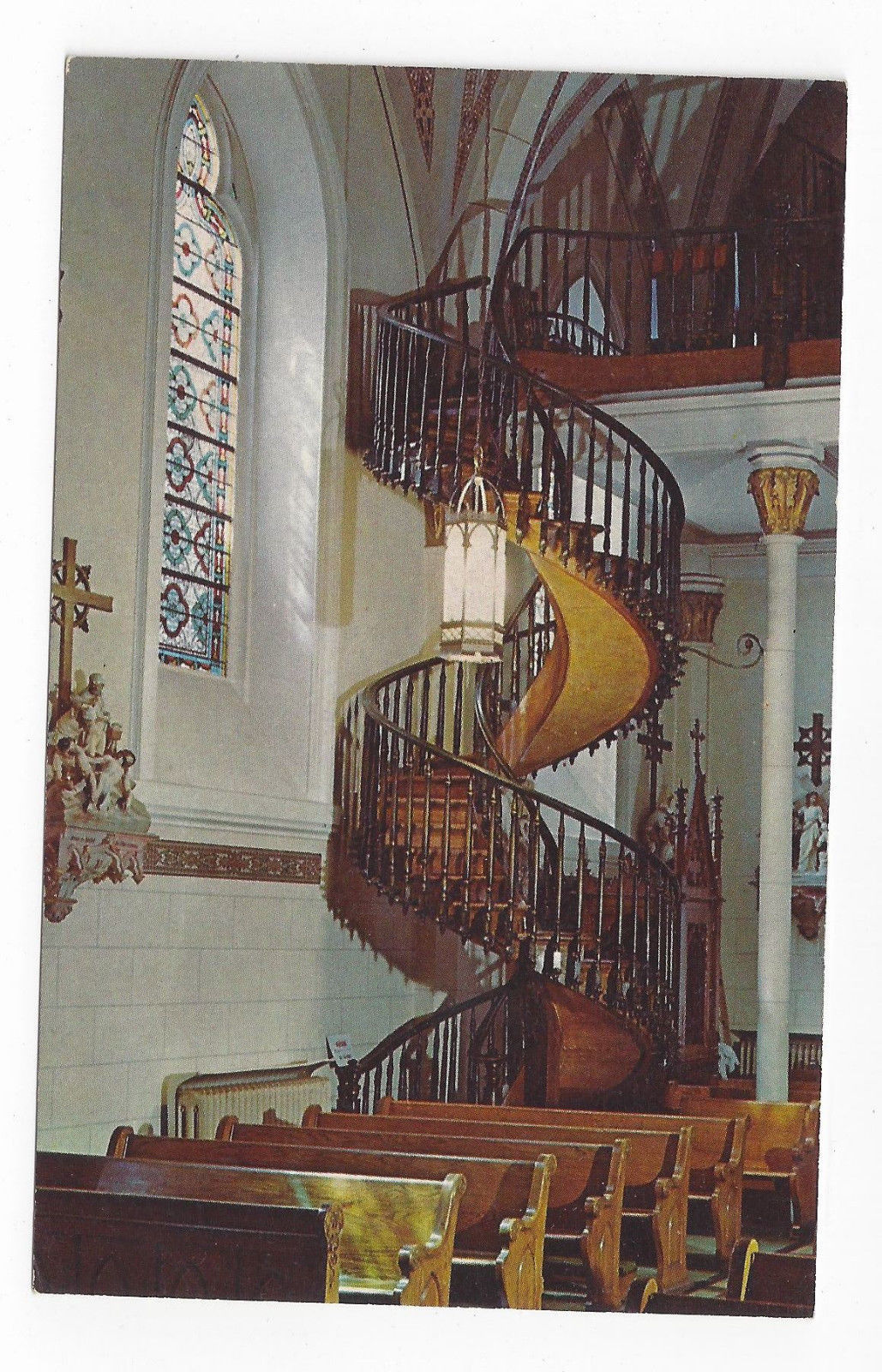 NM Santa Fe Loretto Academy Spiral Staircase Chapel of Our Lady Vintage Postcard