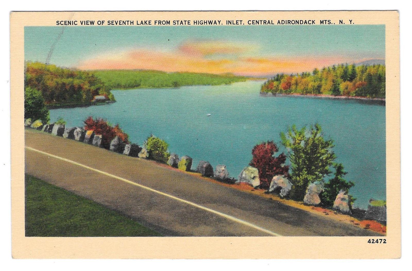 NY Adirondacks Seventh Lake from Highway Inlet Vtg Jubb Postcard