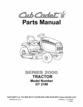 Cub Cadet Parts Manual Model No. GT 2186 - $10.88