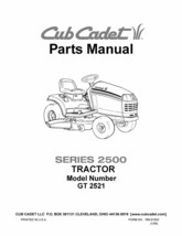 Cub Cadet Parts Manual Model No. GT 2521 - $10.88