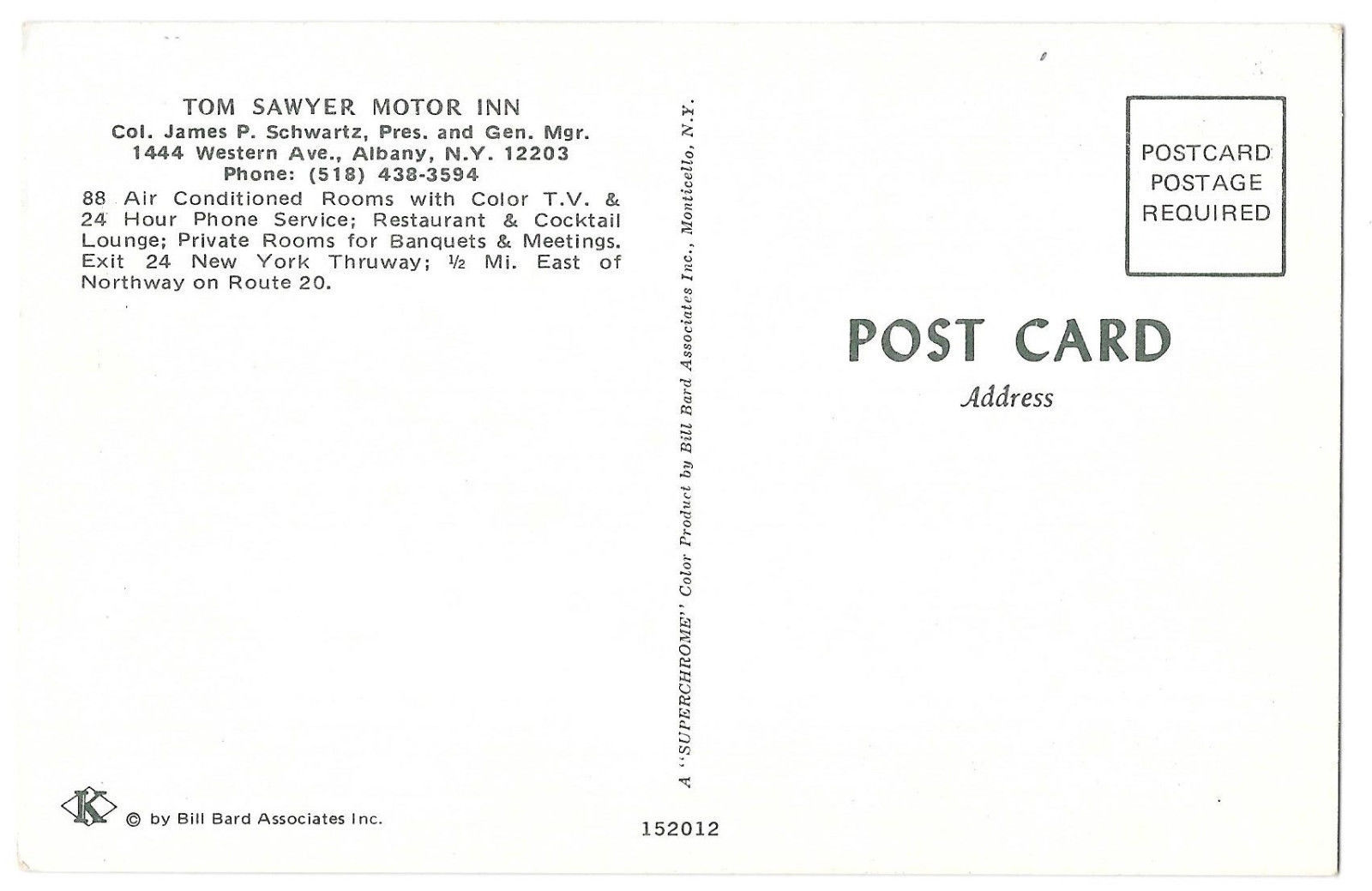 NY Albany Tom Sawyer Motor Inn Motel Multiview Interiors Vtg Postcard