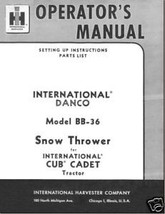 IH Cub Danco Snow Thrower Model# BB-36 Operators Manual - $10.88