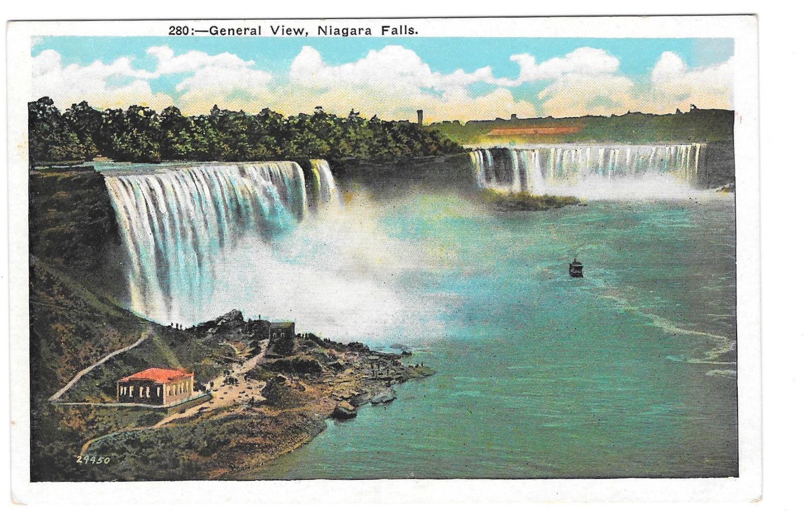 NY Niagara Falls General View Vtg Miller Art Postcard