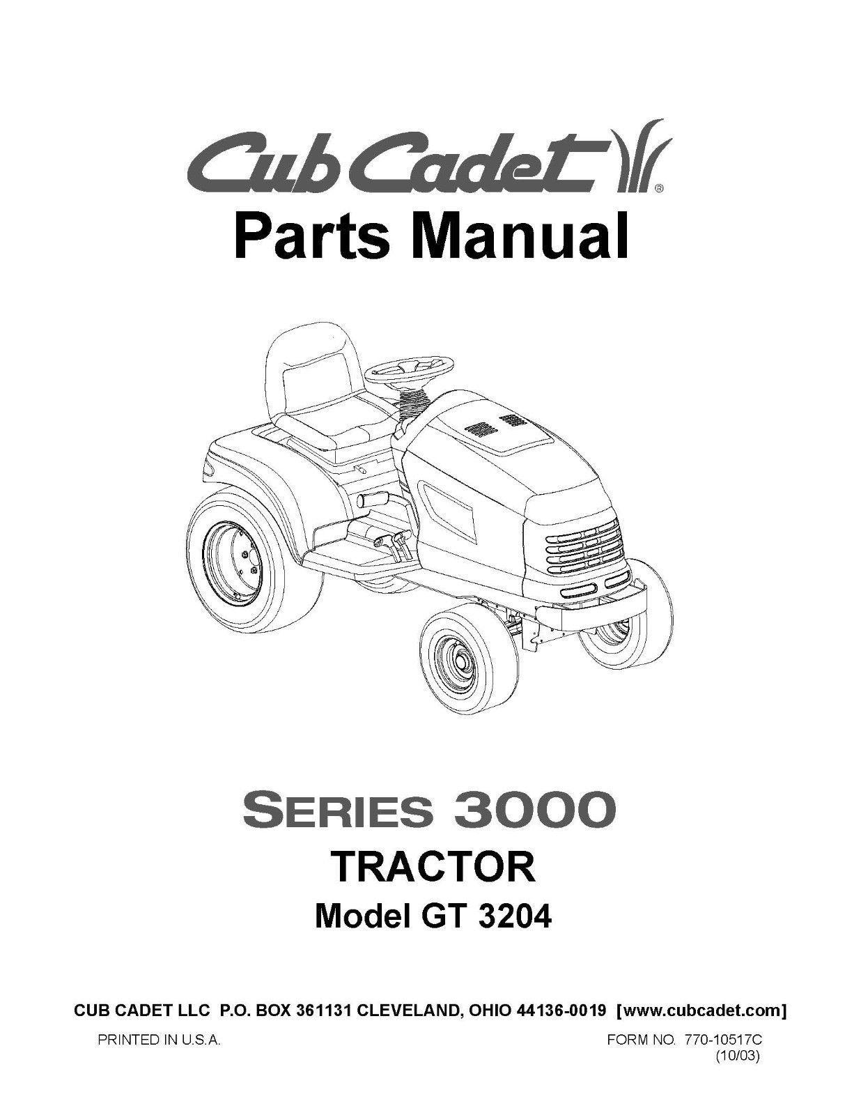 Cub Cadet Parts Manual Model No. GT 3204