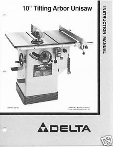 Delta Table Saw Model 36-825 Instruction Manual