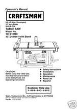 Sears Craftsman  Table Saw Manual Model # 137.218100 - $10.88