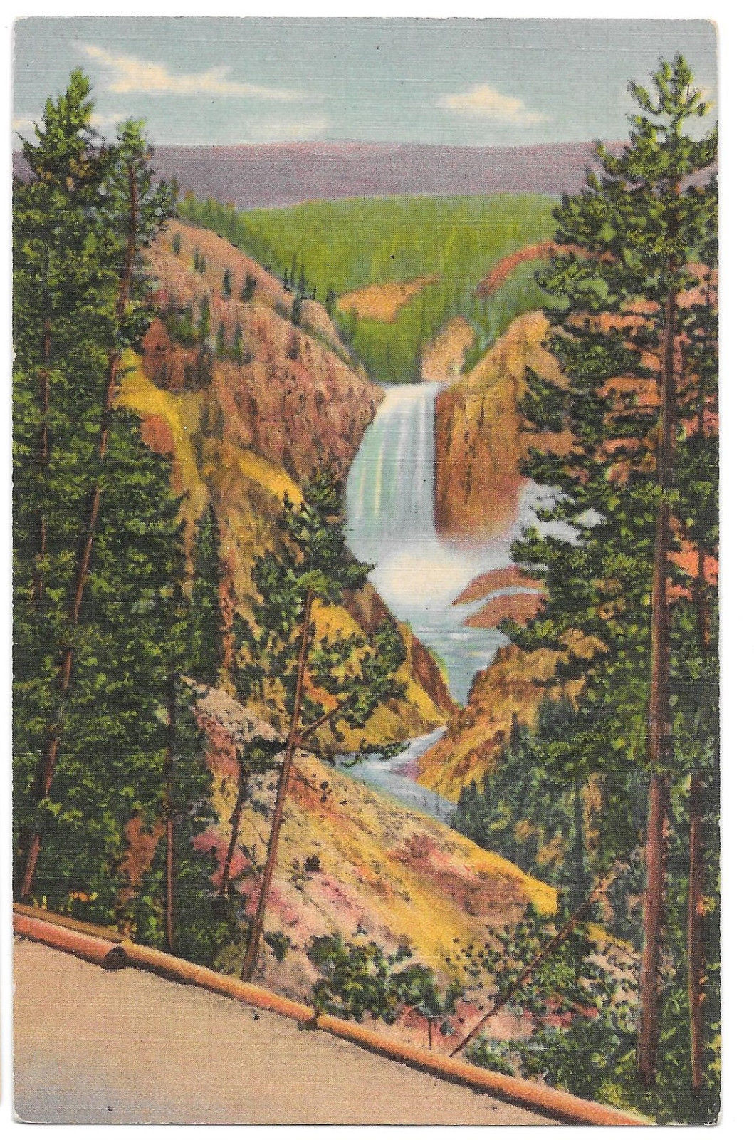 WY Yellowstone Grand Canyon Lower Falls from Artist Point Vtg Linen Postcard