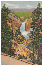 WY Yellowstone Grand Canyon Lower Falls from Artist Point Vtg Linen Post... - $6.36