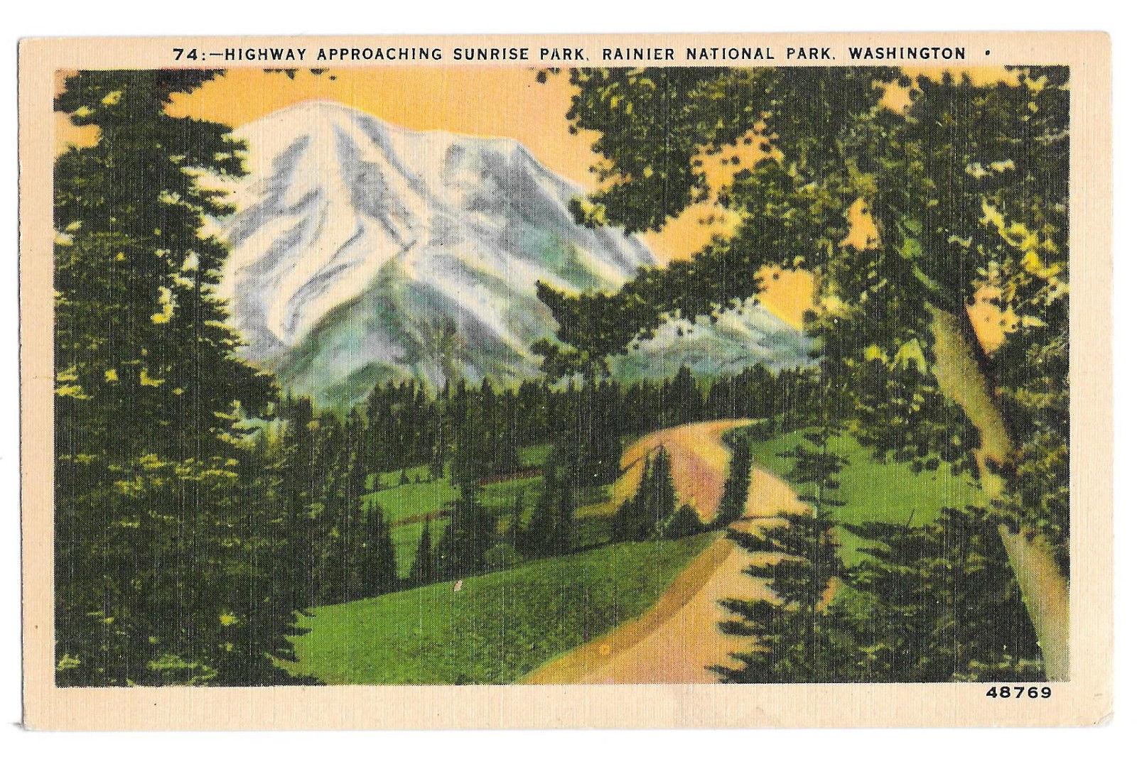WA Ranier National Park Highway Sunrise Park Vtg Johnston Linen Postcard 1943