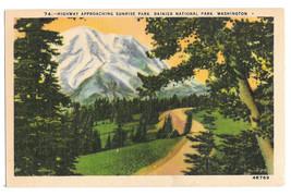 WA Ranier National Park Highway Sunrise Park Vtg Johnston Linen Postcard... - $6.17