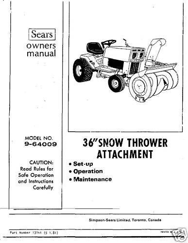 "Craftsman 36"" Snow Thrower Attach. Manual # 9-64009"