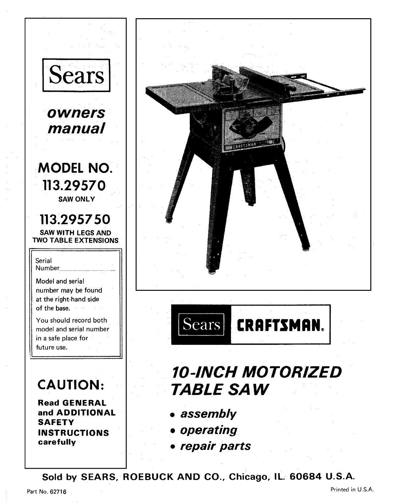 Sears Craftsman  Table Saw Manual Model # 113.295750