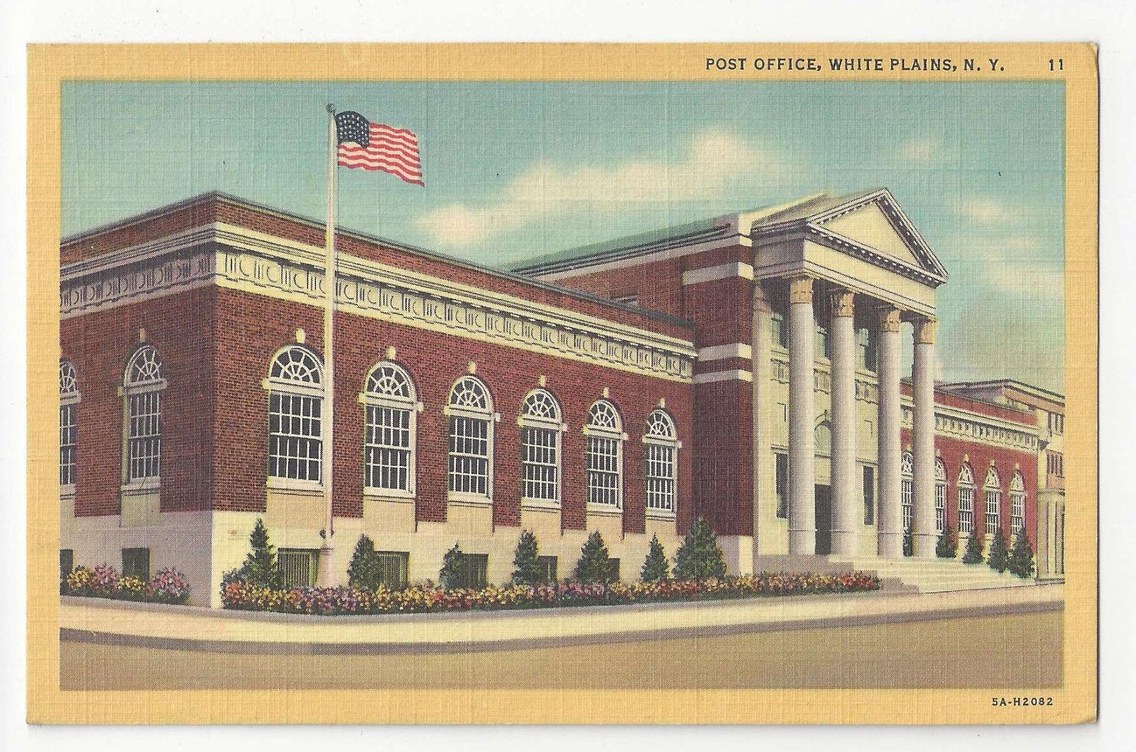 NY White Plains New York Post Office Vintage 1935 Linen Postcard
