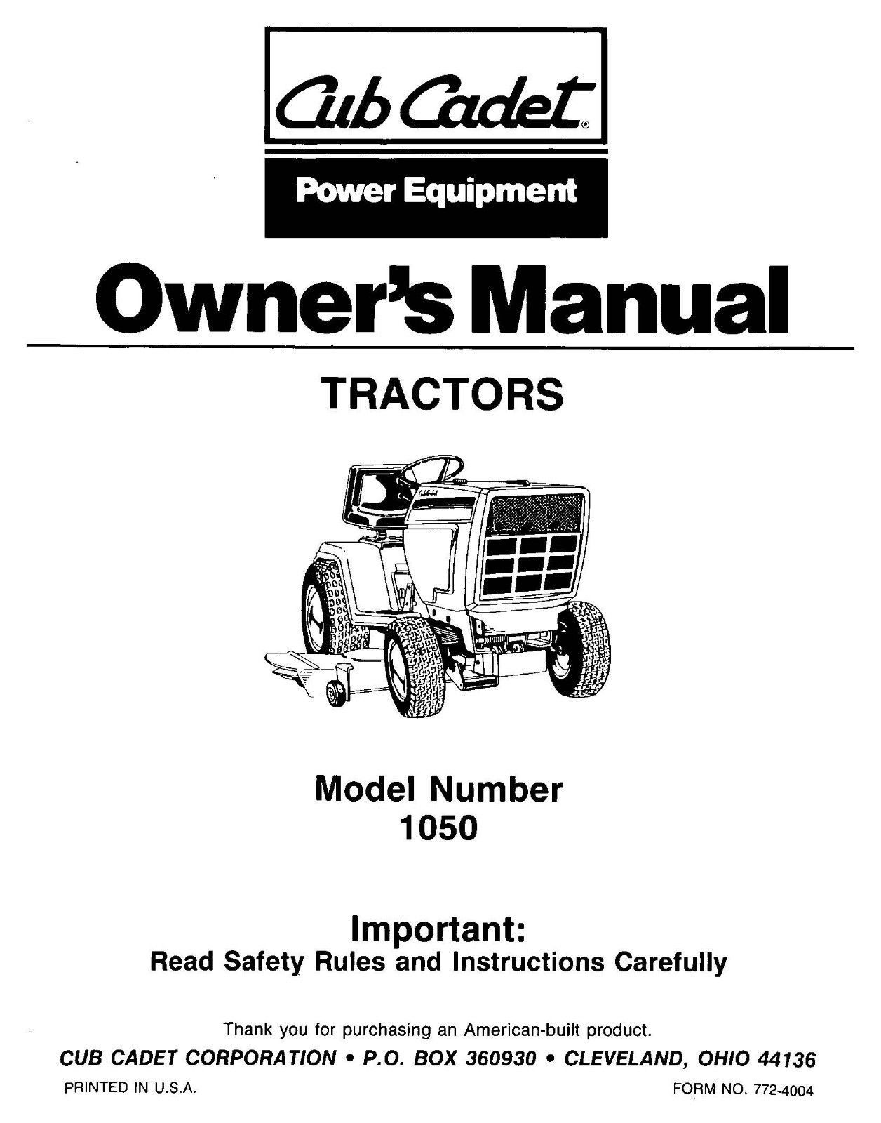 Cub Cadet Lawn Tractor Owners Manual Model No. 1050