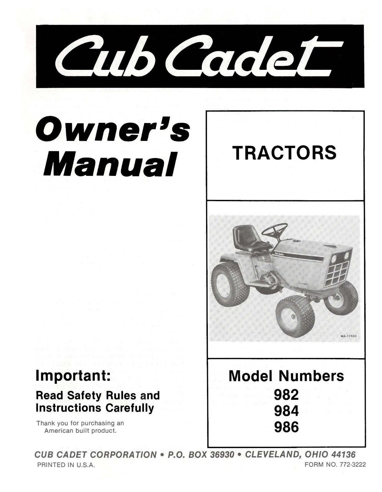 Cub Cadet Lawn Tractor Owners Manual Model and 50 similar items. 57