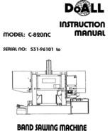 DoAll Band Saw Operators Manual Model No. C-820NC - $21.78