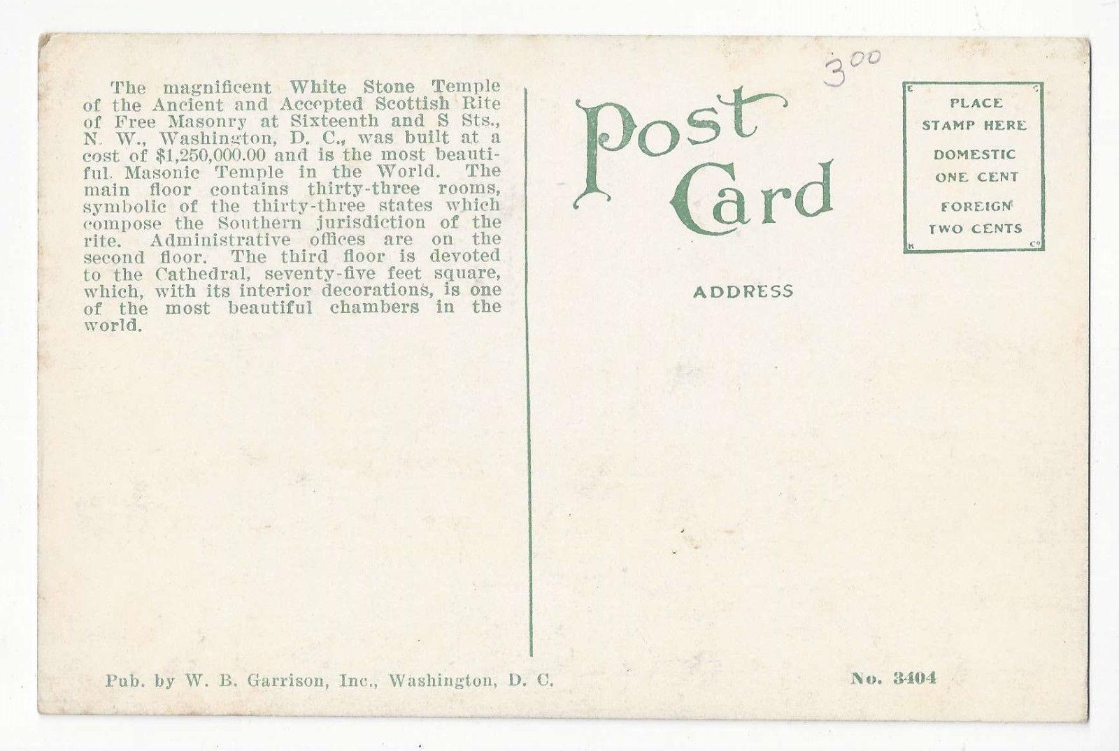 Washington DC Temple of Scottish Rite Vtg WB Garrison Postcard