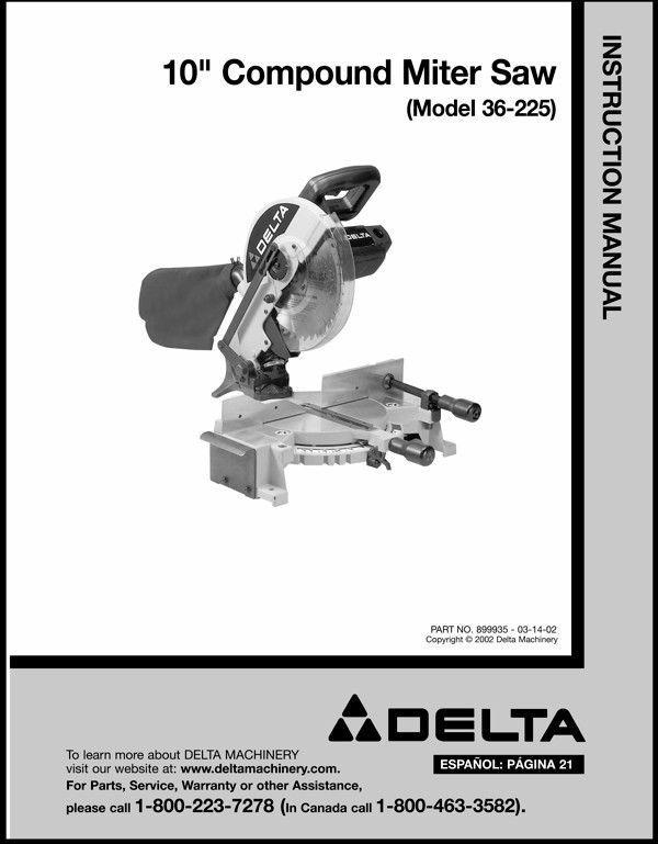 "Delta 10"" Compound Miter Saw Instruction Manual Model No. 36-225"