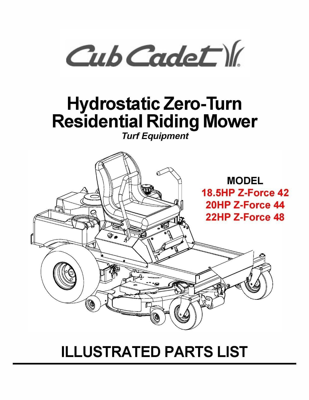 Cub Cadet Hydrostatic ZeroTurn Riding Mower Parts Manual Model #.ZFORCE 42-44-48