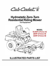 Cub Cadet Hydrostatic ZeroTurn Riding Mower Parts Manual Model #.ZFORCE ... - $10.88