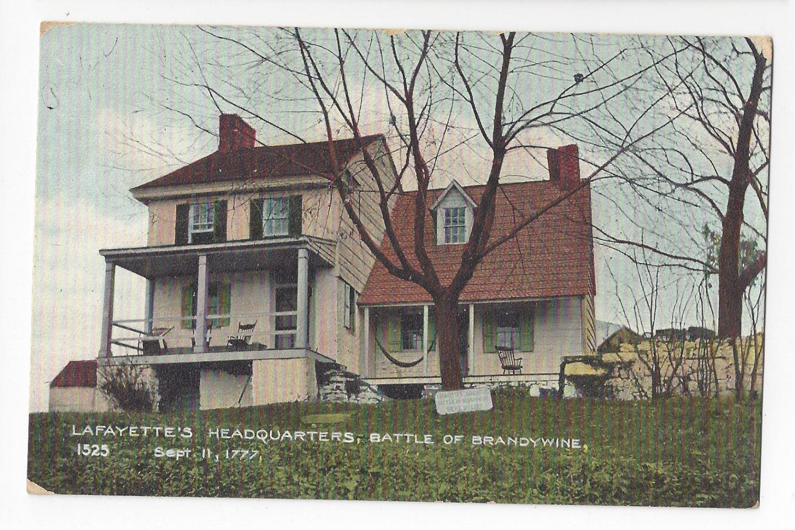 PA Chadds Ford Lafayette's Headquarters ca 1910 Postcard Battle of Brandywine