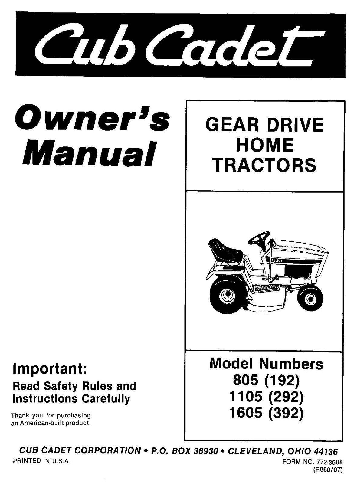 Cub Cadet Lawn Tractor Owners Manual Model No. 805-1105-1605