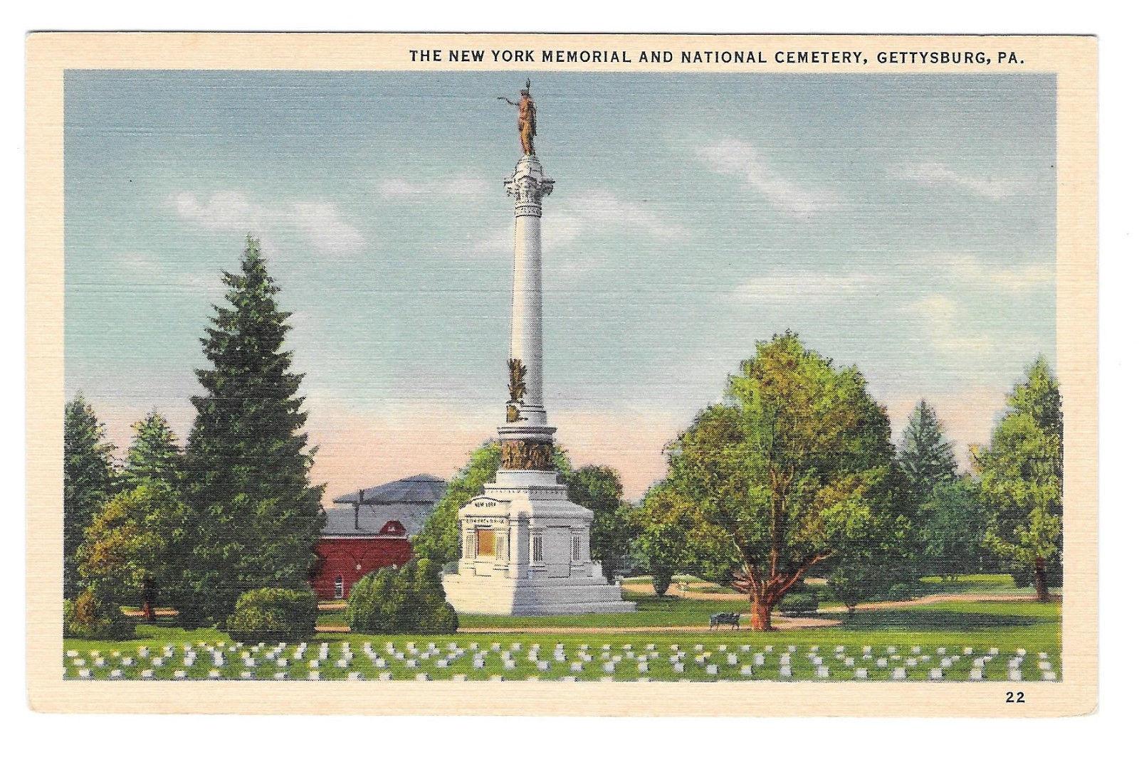 PA Gettysburg Civil War New York Memorial National Cemetery Vtg Linen Postcard