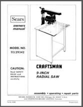 "Sears Craftsman 9"" Radial Arm Saw Manual No.113.29342 - $10.88"
