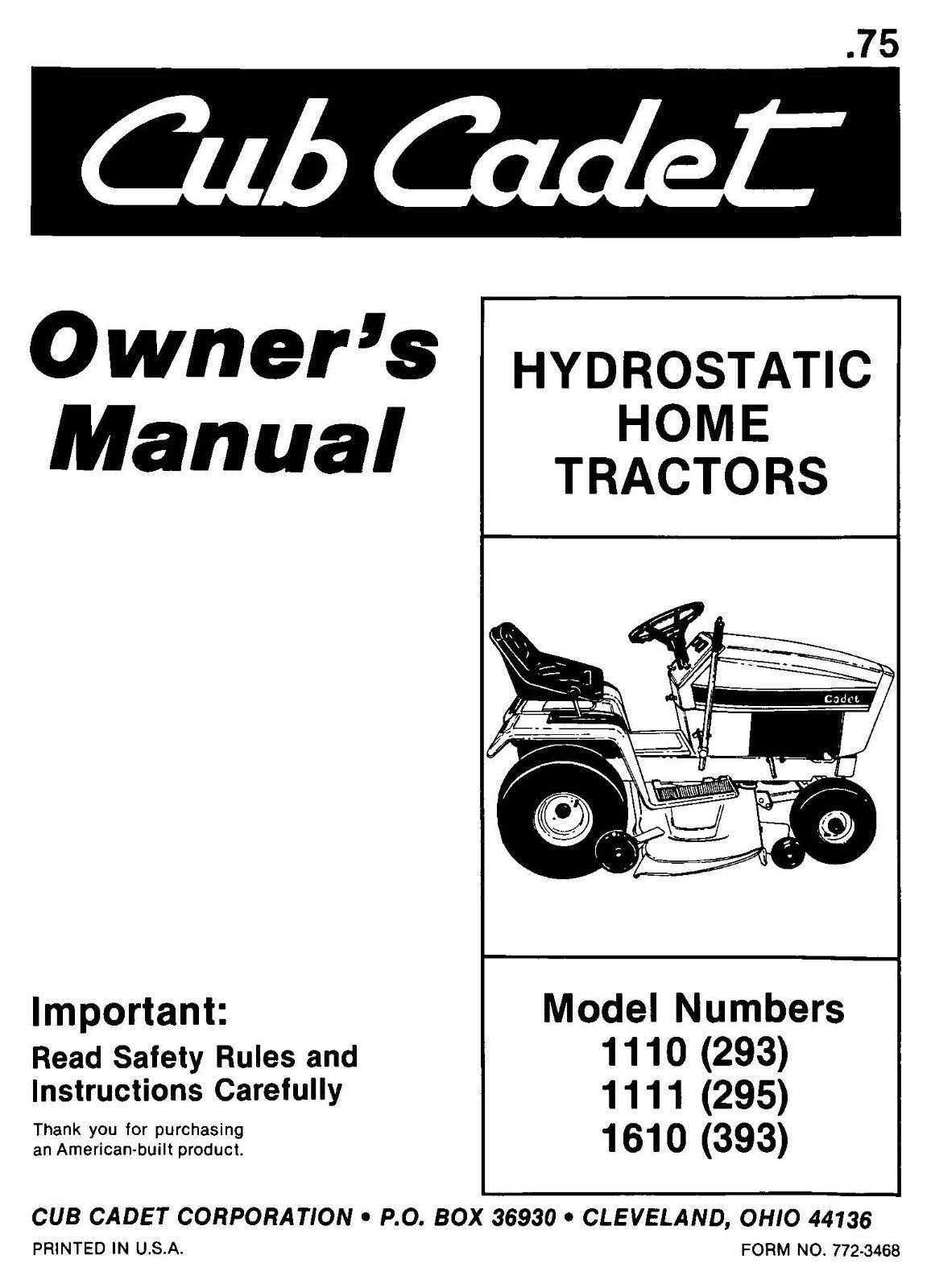 Cub Cadet Lawn Tractor Owners Manual Model No. 1110-1111-1610