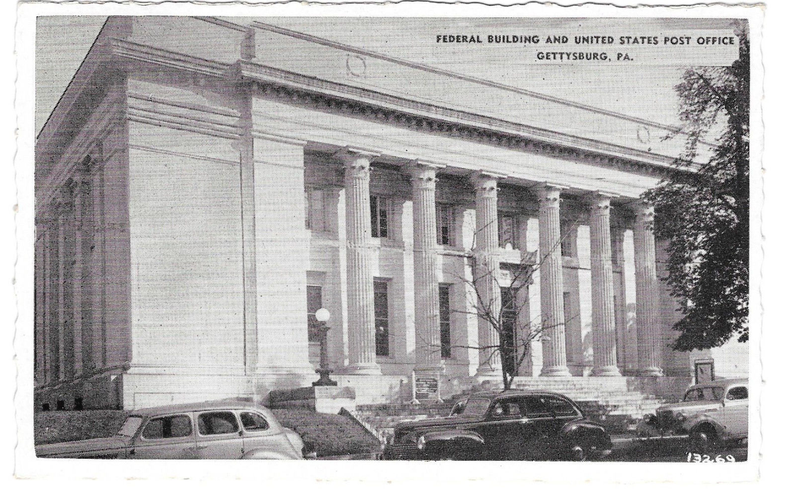 PA Gettysburg Federal Building US Post Office Cars Vtg Buohl Postcard