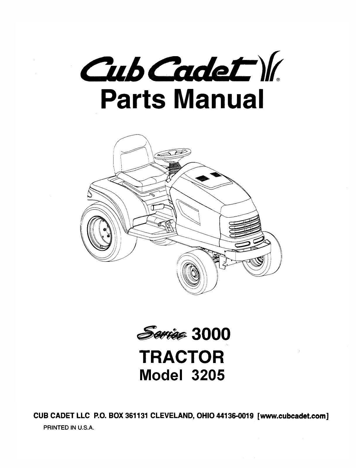 Cub Cadet 3000 Series Lawn Tractor Parts Manual Model No. 3205